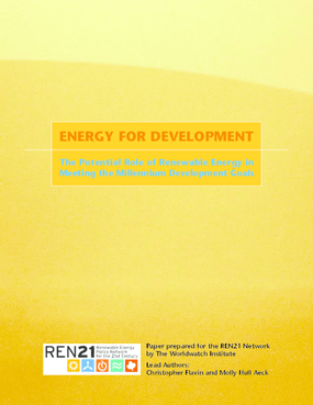Energy for Development: The Potential Role of Renewable Energy in Meeting the Millennium Development Goals