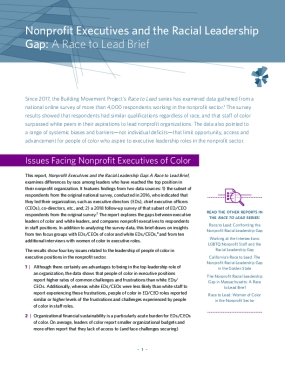 Nonprofit Executives and the Racial Leadership Gap: A Race to Lead Brief