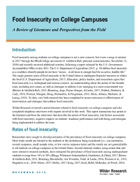 Food Security on College Campuses: A Review of the Literature and Perspectives from the Field