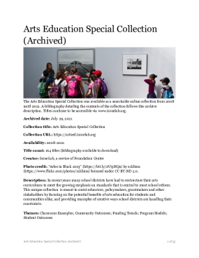 Arts Education Special Collection (Archived)